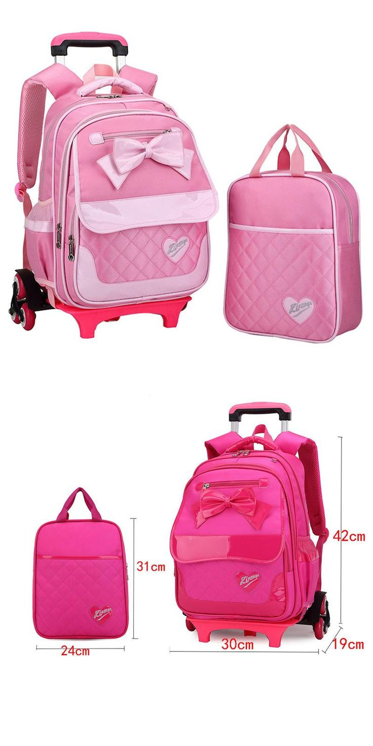 [Visit to Buy] Korean Style Children Backpack Kids Bow Cute Pink A set Detachable Trolley school bag Girls wheeled book bags Mochilas Escolares #Advertisement