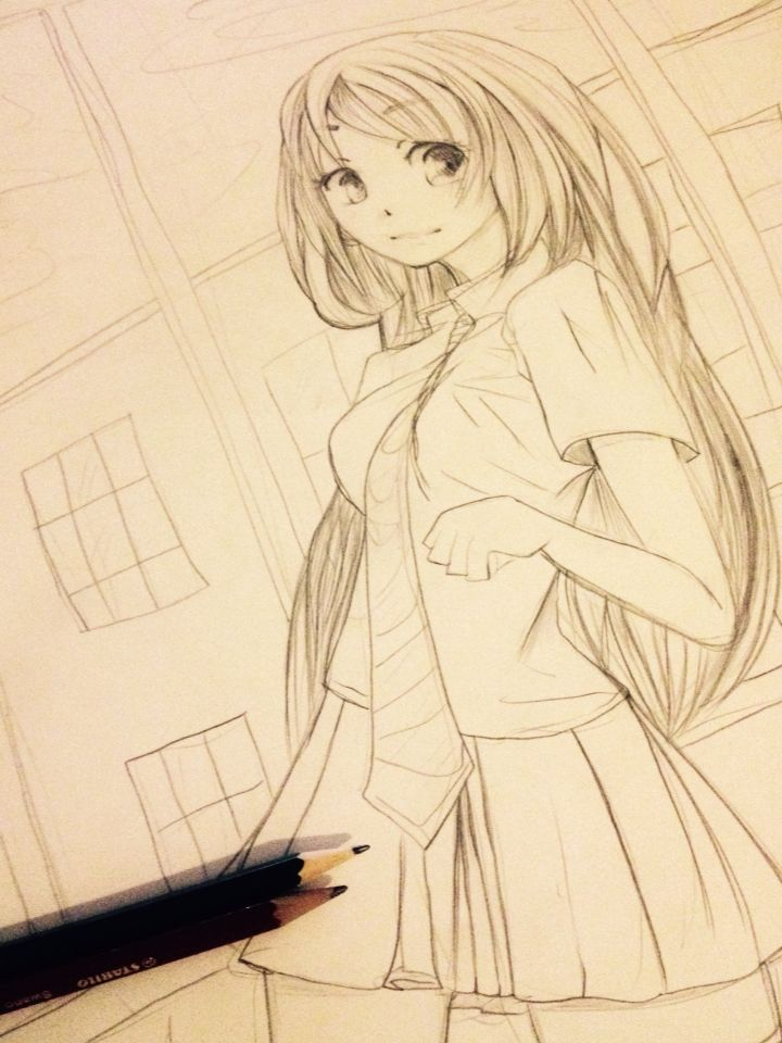 "Practice using reference :3 ""anime manga art pencil sketch uniform schoolgirl"""