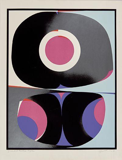 """GUNNAR S. GUNDERSEN FØRDE 1921 - BÆRUM 1983  """"Det tredje øye"""" Fargeserigrafi, 14/110, 66x52 cm Signert nede til høyre: Gunnar S."""