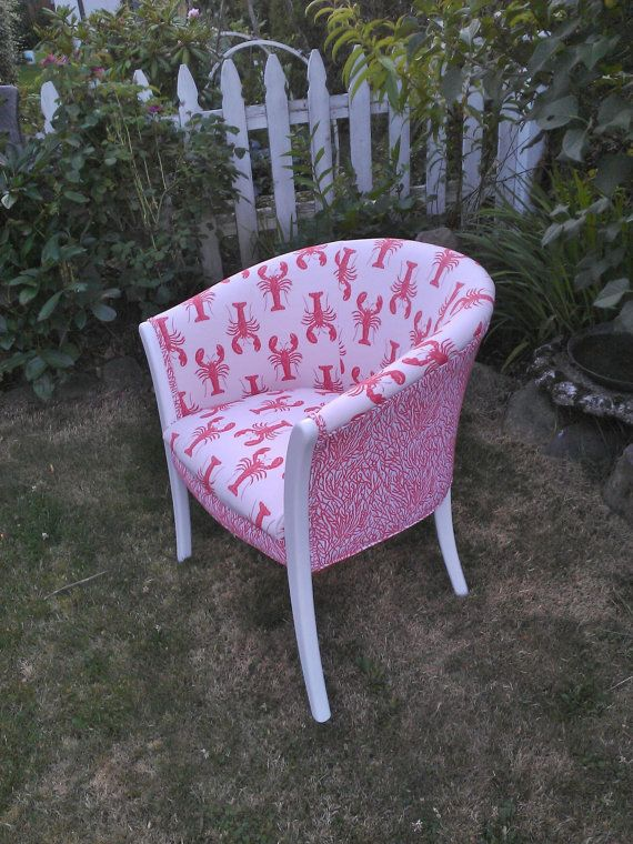 ROCK LOBSTER  A sweet little chair upholstered in a by DNDYDesign, $250.00