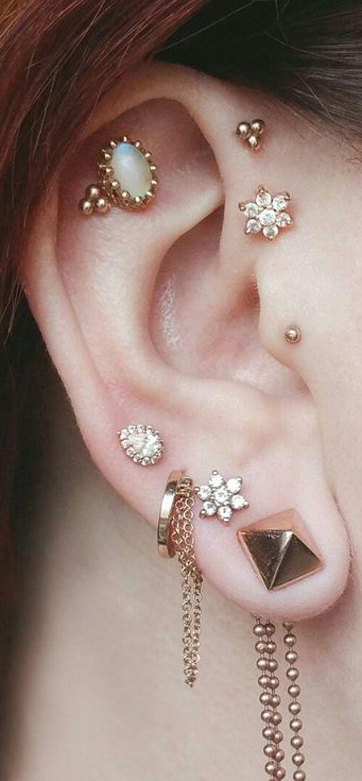 unique multiple ear piercing ideas combinations