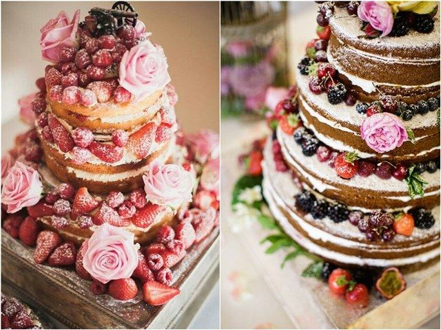 rustic country naked berry wedding cakes / http://www.deerpearlflowers.com/rustic-berry-wedding-cakes/