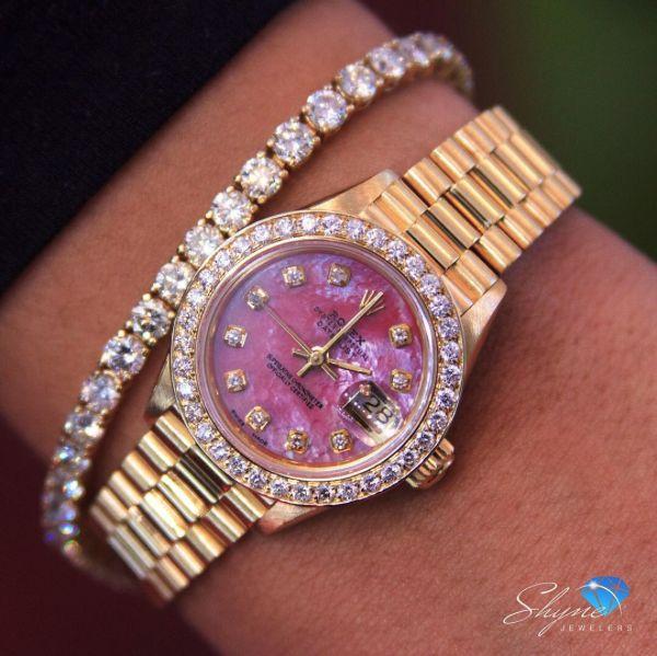18k Yellow Gold Ladies' Presidential Rolex DateJust 2.7ct Diamond Watch