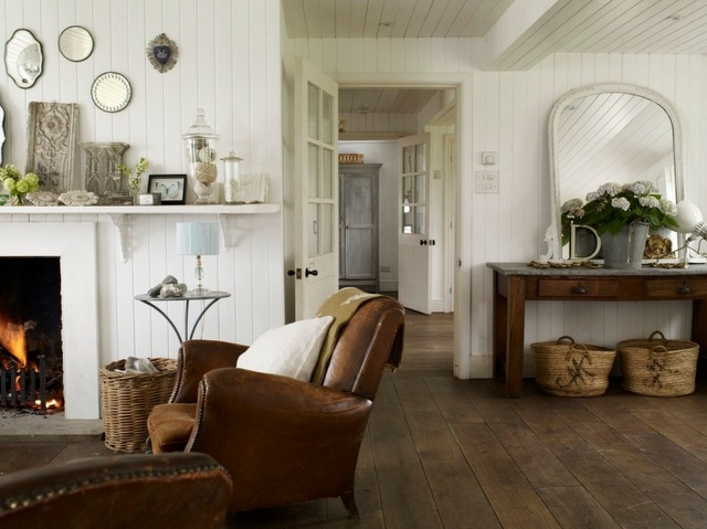 Love this: Farmhouse Chic, Dreams Houses, Decor Ideas, Living Rooms, Color, Wood Floors, Lights Wall, Leather Chairs, White Wall