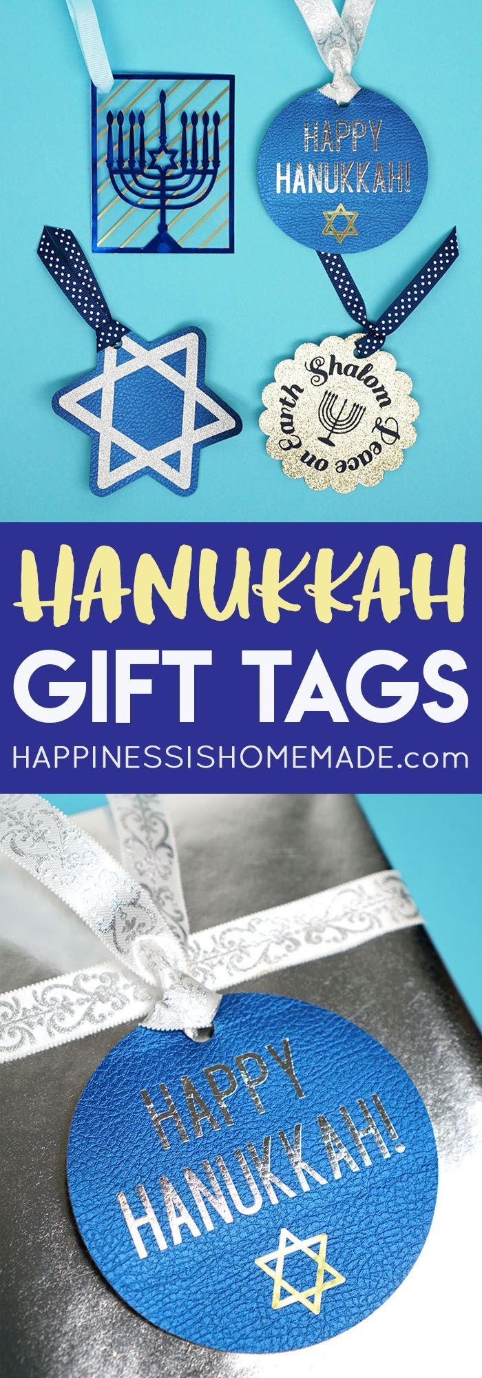 It's easy to add a touch of sparkle and shimmer to your holiday presents with these metallic, glitter, and leather Hanukkah gift tags!Get the cut file for Cricut Design Space and start making your own gift tags for all of your Hanukkah presents! via @hiHomemadeBlog #ad @Cricut #CricutMade #CricutHoliday
