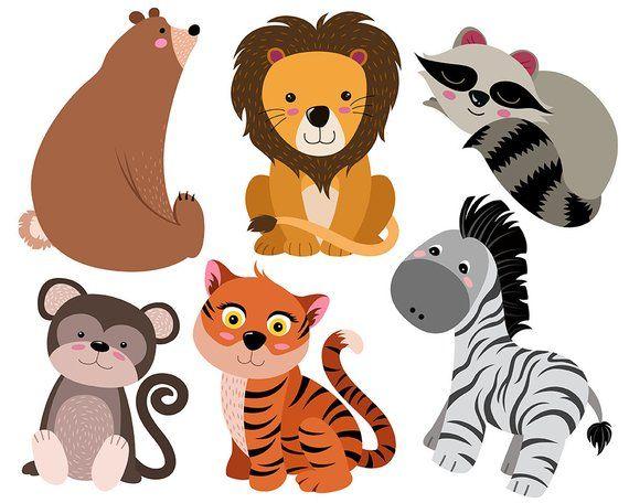 Cute Animals Clip Art Set Of 16 Hand Drawn 300 Dpi Vector Png And Jpg Files Adorable Animal Design Elements Digital Clipart Collection Garabatos De Animales Dibujos Bonitos De Animales Animales Bonitos