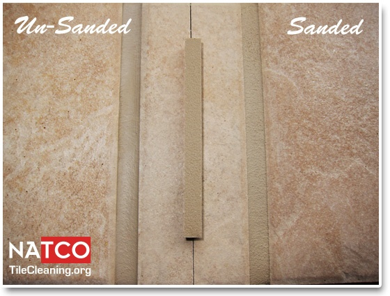 Light buff TEC grout color sanded vs unsanded grout.