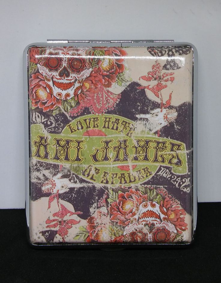 Ami James Ink Love Hate Framed Double Sided PU Leather 100s Cigarette Case