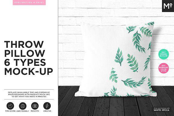 Throw Pillow 6 Types Mock-up by Mocca2Go/mesmeriseme on @creativemarket