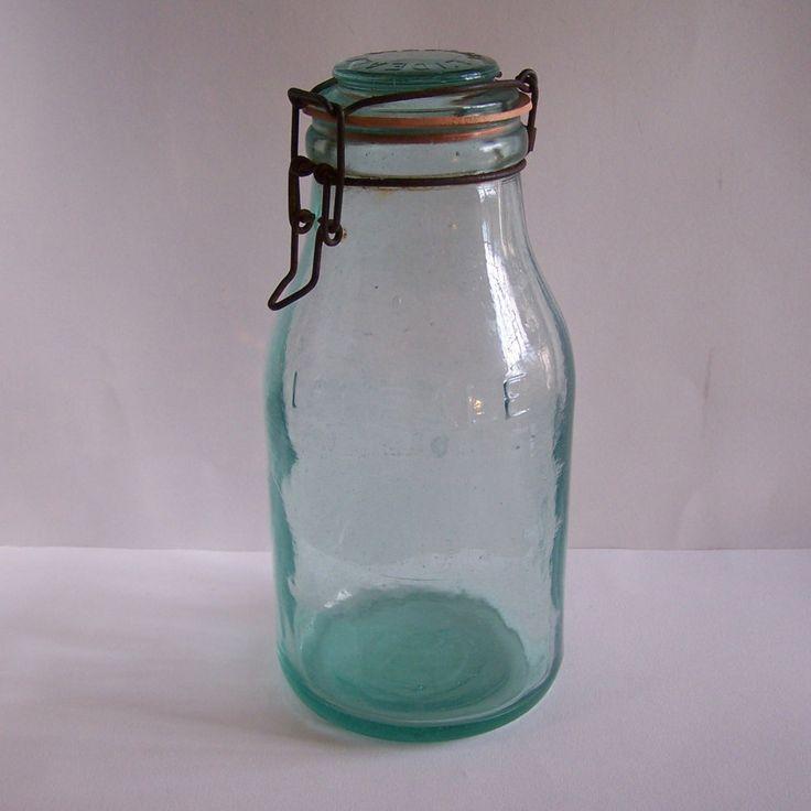 Bocal en verre pot en verre L'Idéale gravé vintage  1.5 litres Made in France de la boutique MyFrenchIdeedAntique sur Etsy