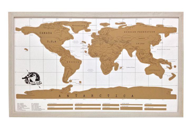 Mapa raspable, marco rústico blanco 58 x 94 cm