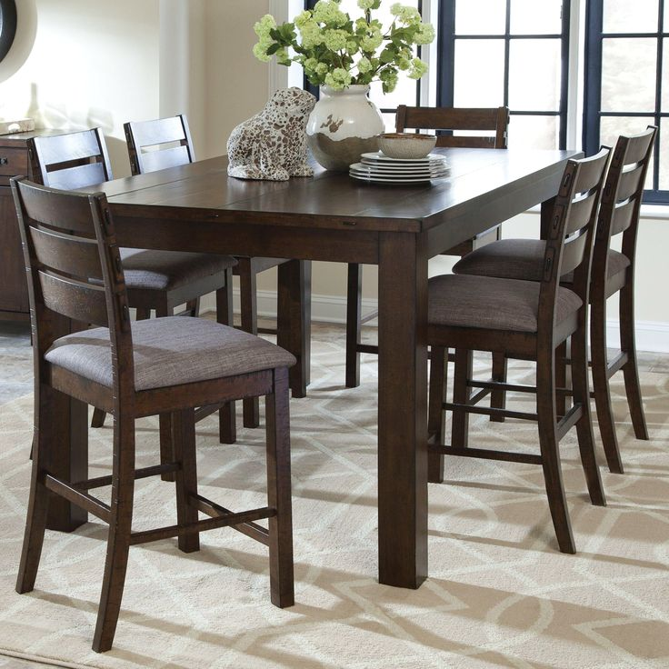 Rustic Block Plank Design Casual 7-piece Counter Height Dining Set with Exposed Metal Brackets (1 Table, 6 Stools), Brown, Size 7-Piece Sets #coasterfurniturediningsets