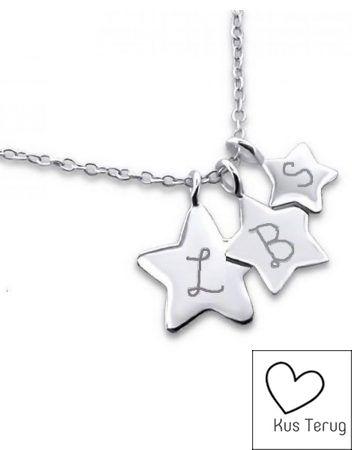 Zilveren ketting met de initialen van jou 3 sterren!