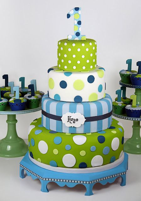 Blue & Green polka dot cake