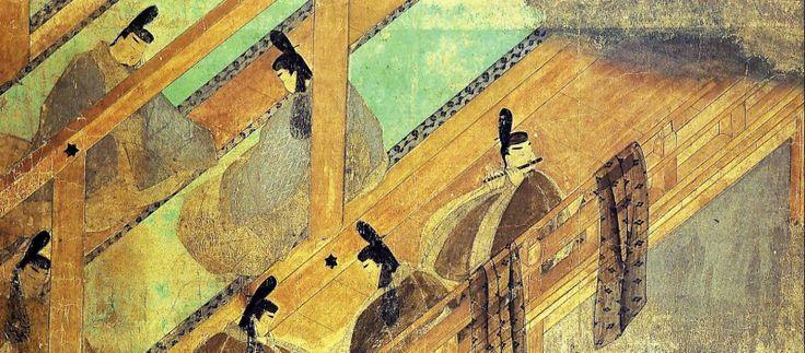 """97. Rotolo del """"Romanzo del Principe Splendente"""" (Genji monogatari emaki), inizio del XII secolo. Inchiostro e colori su carta, particolare (h. cm. 21,8). Tokyo, Museo Goto."""