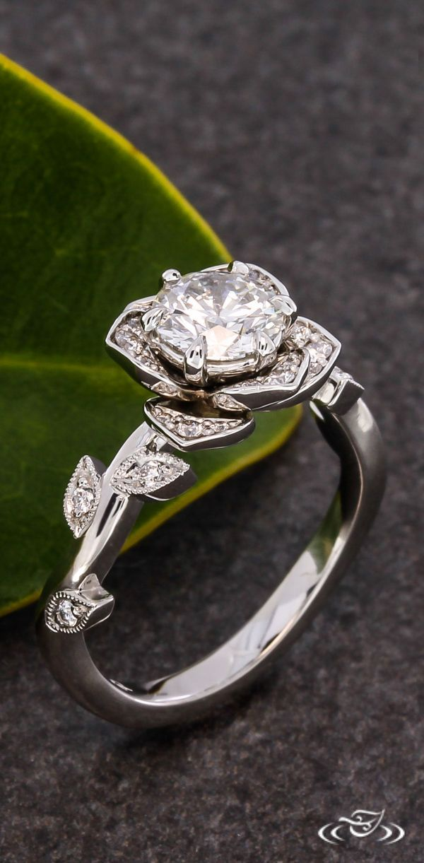 Lotus Halo Engagement Ring with Delicate Diamond Petals. Green Lake Jewelry 109972 #Lotus #Ring