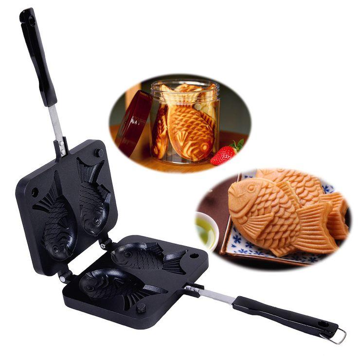 送料無料たいやき日本の魚の形耐熱皿ワッフルパンメーカー2キャストホームケーキツール