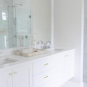 White Floating Double Vanity with Brass Harwdare