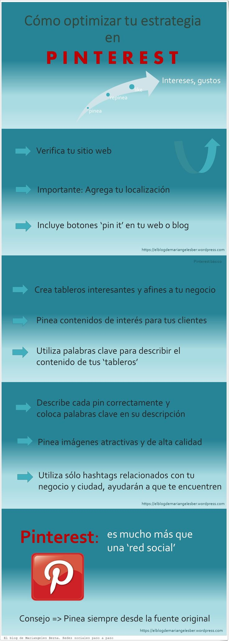 Cómo optimizar tu estrategia en Pinterest con unos sencillos consejos.  #pinterest #infografía