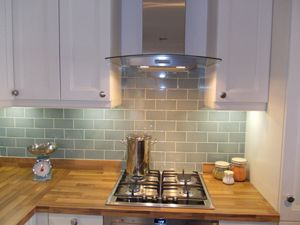 Duck Egg Blue Tiles For Kitchen Splashback With Same Colour Paint On  Opposite Wall.