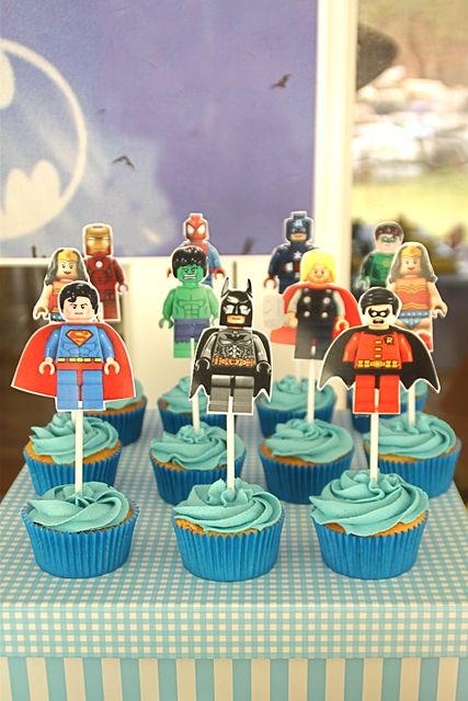 Cupcakes at a Lego Superhero #lego #superherocupcakes