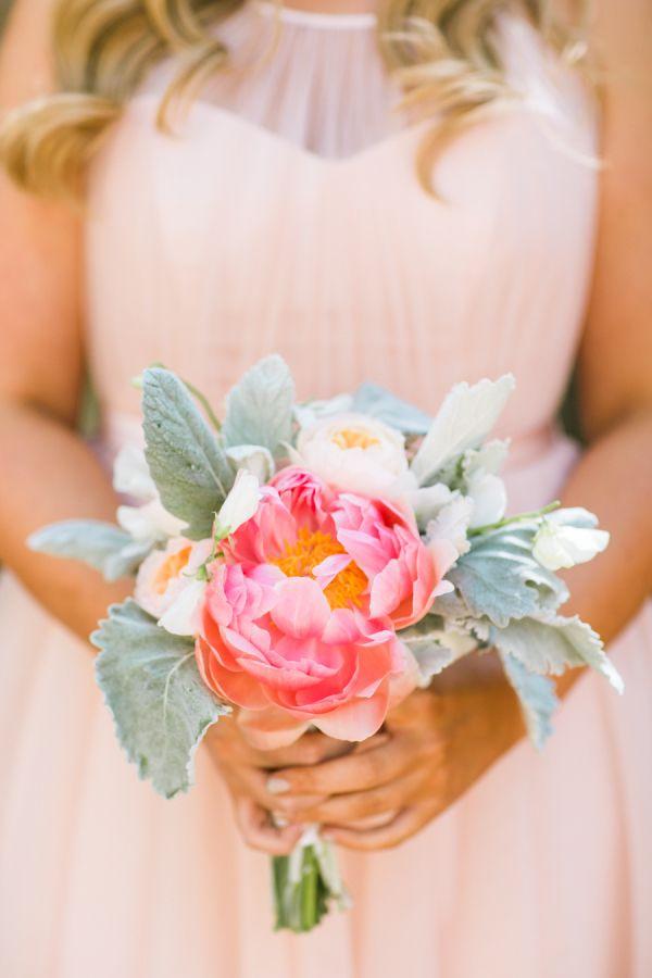 Coral charm peony bouquet: http://www.stylemepretty.com/california-weddings/carmel-valley/2015/11/25/rustic-romantic-holman-ranch-wedding/ | Photography: Jasmine Lee - http://jasmineleephotography.com/index3/