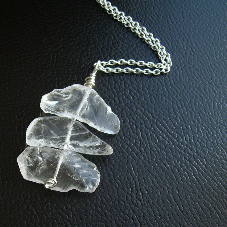 Clear Crystal Quartz Necklace, Raw Rock Crystal Pendant, Semi Precious Stone Jewelry. $39.00, via Etsy.