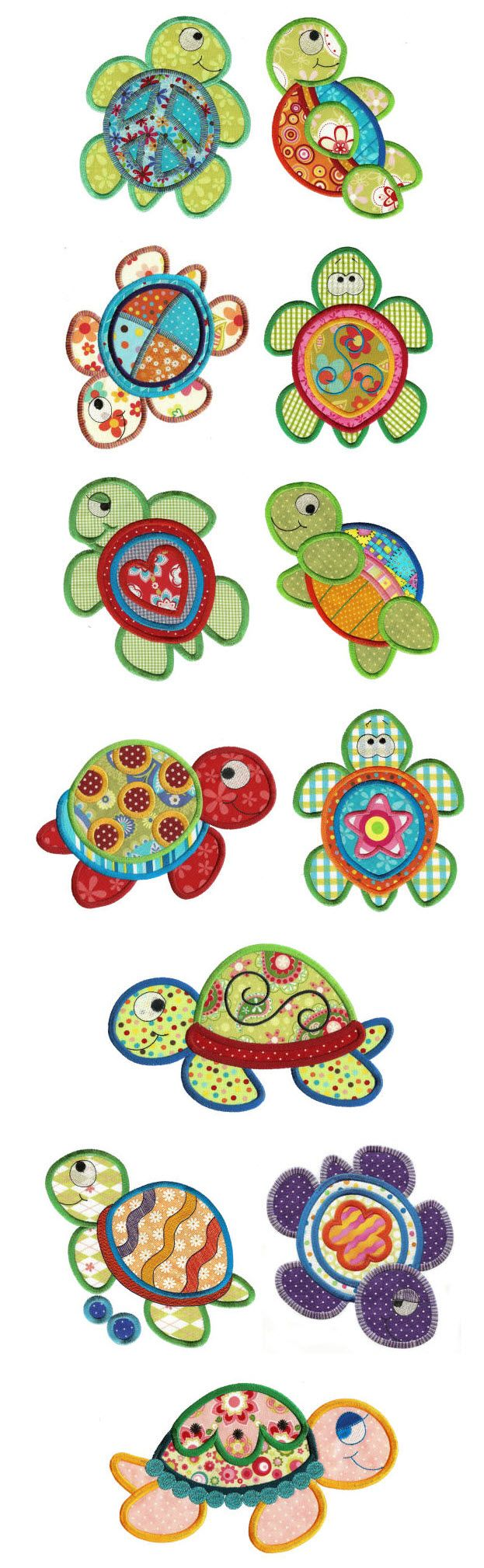 Designs by JuJu Sea Turtles Applique machine embroidery designs