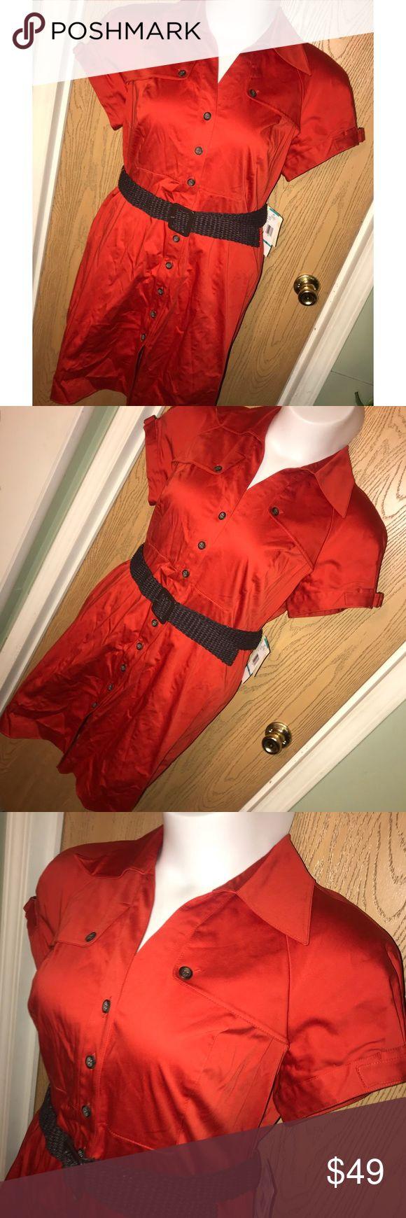 "Dark orange Nine West shirt dress Pretty dark orange button down shirt dress with woven belt. Never worn. 23"" from armpit to armpit, 38"" total length. Nine West Dresses"