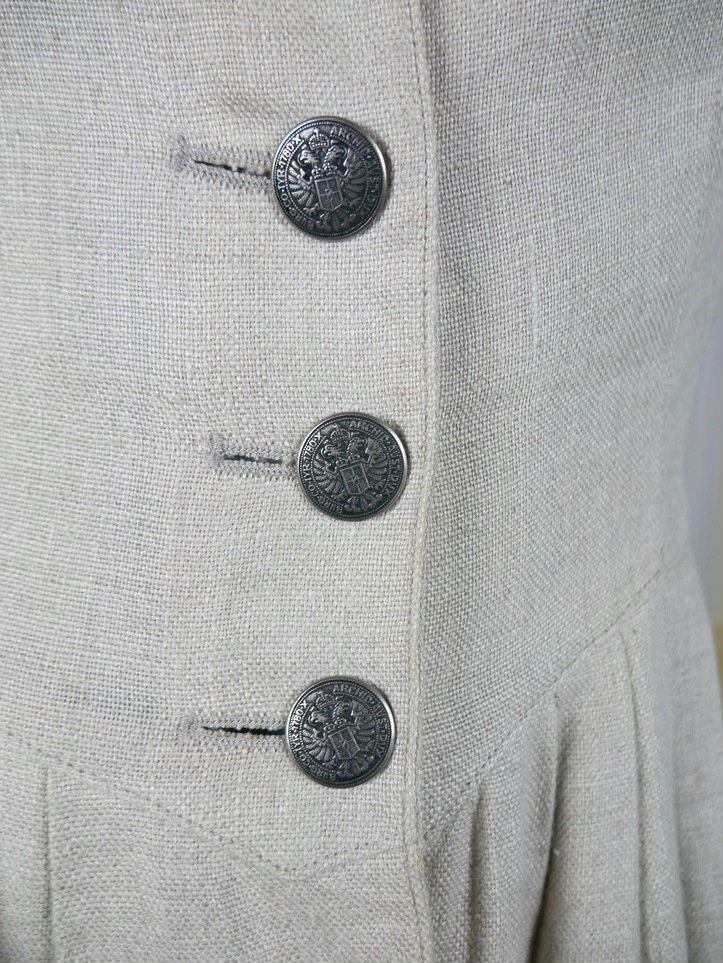 German Vintage Trachten Dress, Cream Colored Linen Bavarian Button-Down Dress w Germanic Coin Buttons, Octoberfest Dress: Size 8 US, 12 UK by YouLookAmazing on Etsy
