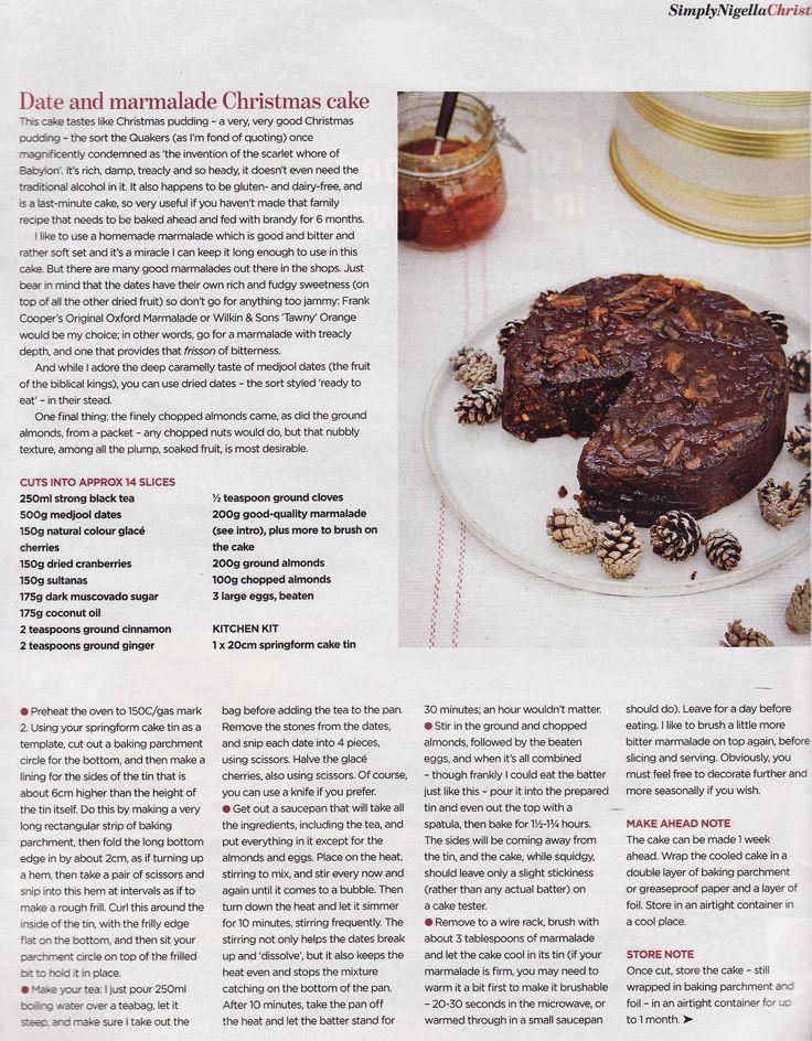Date and Marmalade Christmas Cake recipe by Nigella Lawson