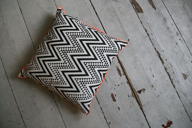 pillow black and white with neon details