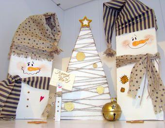 """Récup'= Une Déco de Noël """" Bonhommes de Neige"""" déco,récup,bois,Noël,décoration de noël,bohomme de neige"""