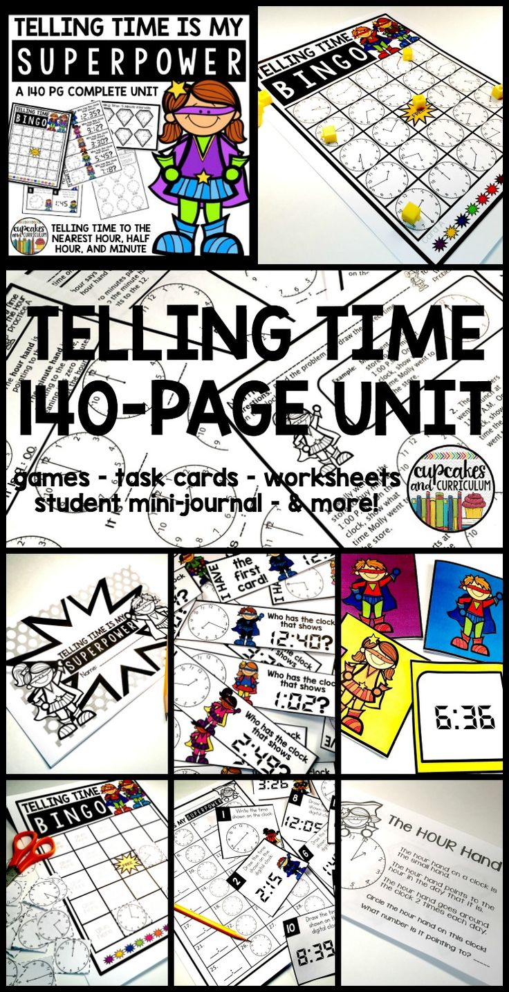 Telling Time - 140 Page Unit.  Task cards, games, student journal, worksheets, and more.  Teach telling time to the nearest hour, half hour, and minute with this all inclusive unit!