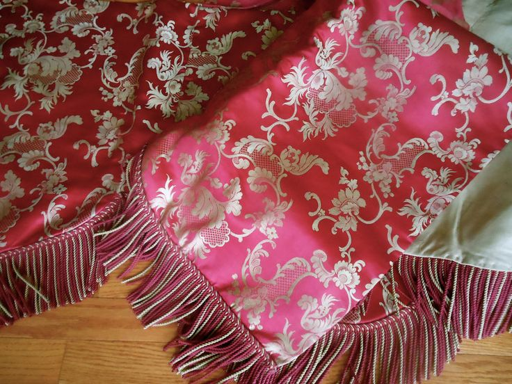 Antique French Floral Scroll Silk Fabric Lg. Pelmet Curtain ~Raspberry Pink  Red