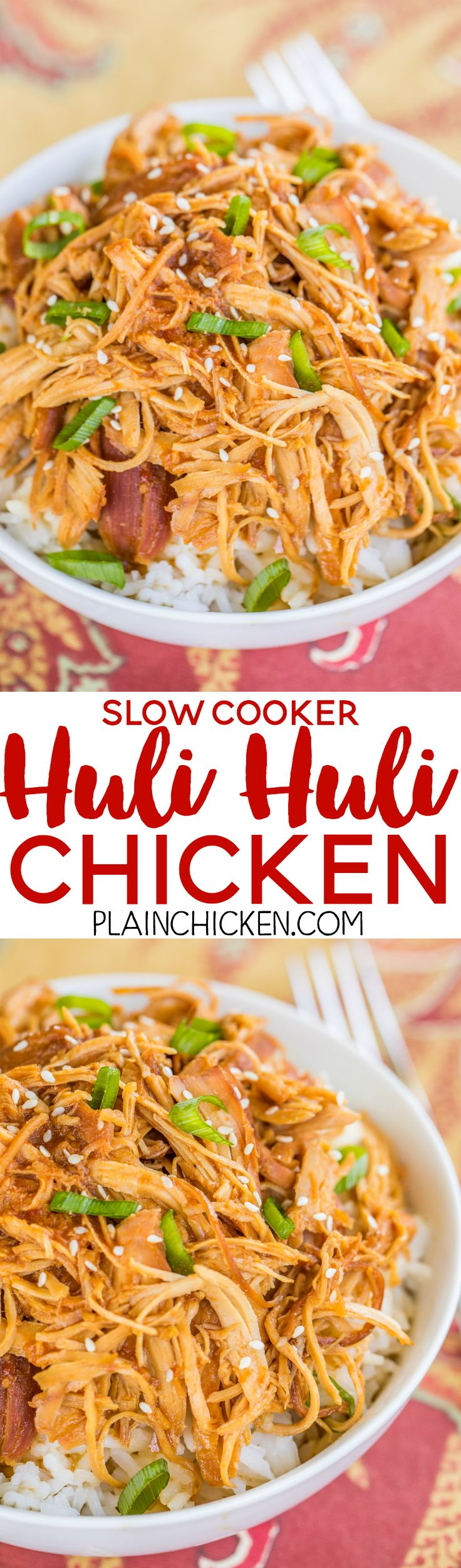 Slow Cooker Huli Huli Chicken - DANGEROUSLY good!!! Chicken breast slow cooked in brown sugar, soy sauce, ketchup, sherry, ginger, and garlic. We ate this twice in one week. It was seriously delicious!! Can use chicken thighs instead of breasts. Serve over rice, potatoes or noodles. Also great on top of a salad!