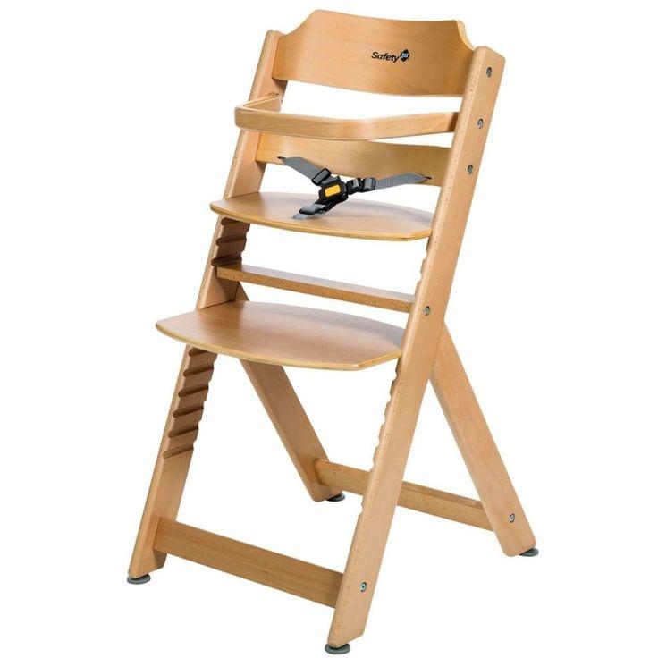 Adjustable Baby High Chair Infant Seat Child Wooden Toddler Safety Harness Bar #AdjustableBabyHighChair