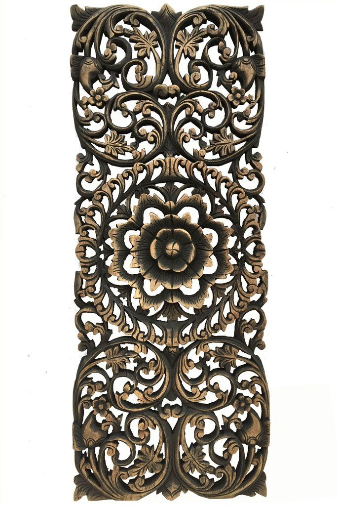 """Floral Tropical Carved Wood Wall Panel. Asian Wall Art Home Decor. Large Wood Wall Plaque. 35.5""""x13.5 Extra Thick Available in Dark Brown and Black Wash"""