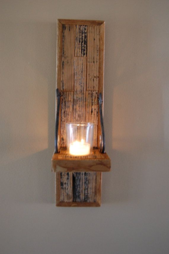 rustic wood wall sconces.etsy. in the details Pinterest