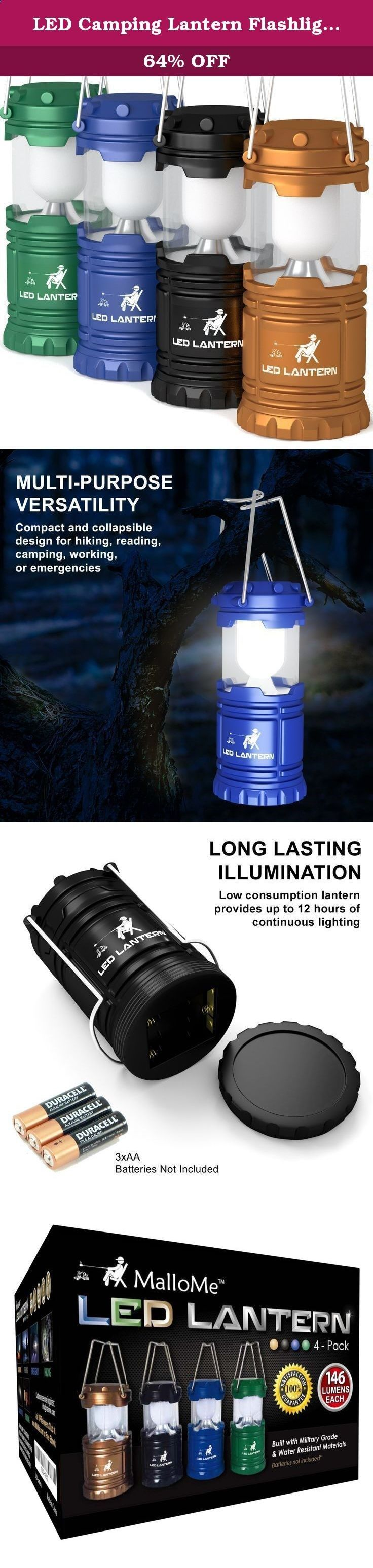 LED Camping Lantern Flashlights Camping Equipment - Great for Emergency, Tent Light, Backpacking, 4 Pack Gift Set. GONE ARE THE DAYS OF DULL, HEAVY, & CHEAP CAMPING LED LANTERNS & FLASHLIGHTS! GET YOUR CAMPING BACKPACK READY! THE BEST OUTDOOR BACKPACKING GEAR & CAMPING GEAR IS FINALLY HERE! MalloMe Camping Lantern Emergency Light Survival Gear | Collapsing 2 Pack Set Enjoy the Great Outdoors Worry Free Now! THE #1 MOST CONVENIENT BACKPACKING & HIKING LIGHTS SET THAT WILL MAKE YOU THE C...