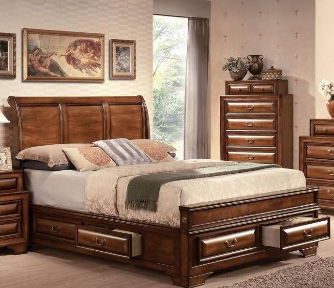 Brown Cherry Storage King Bedroom Set 4pcs Konane 20444ek Acme Traditional Konane 20444ek Set 4 King Size Bedroom Sets Modern Bedroom Furniture Bedroom Set