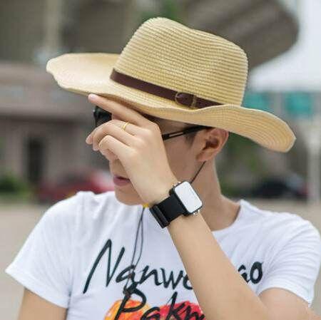Summer UV beige straw sun hat for men summer wear