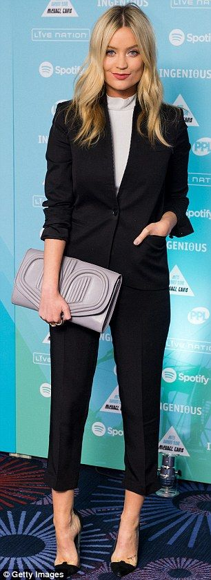 Night on the town: Laura Whitmore, left, and Jo Whiley, right, stepped out for the Music I...