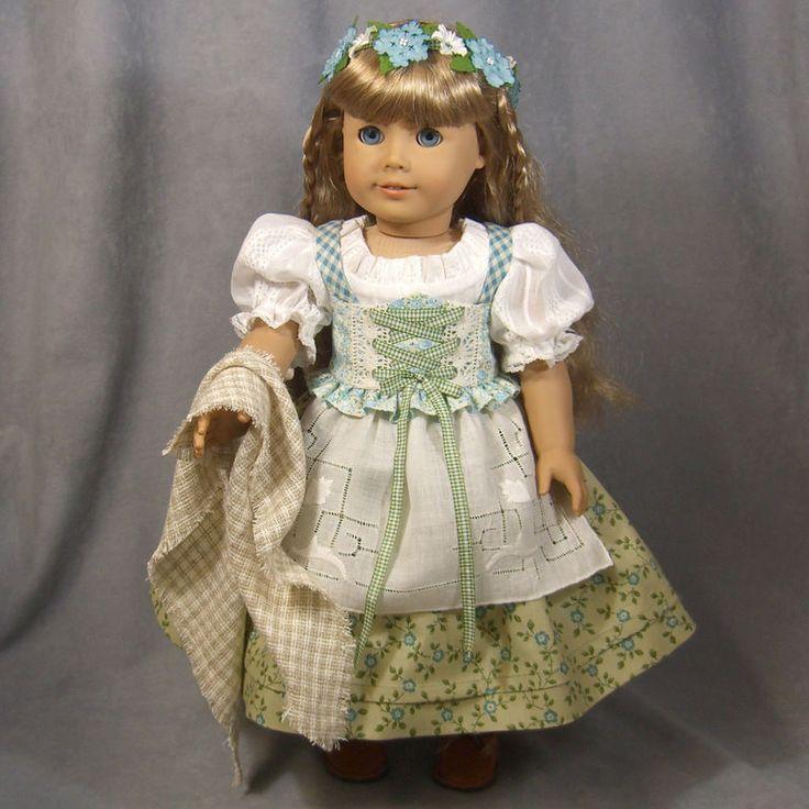 ~ MID-WINTER DIRNDL ~ 9 pc Blue/Green Dress set for AG Kirsten l by idreamofjeannemarie via eBay, opening Bid $85.00, ends Tues 1/12/16