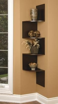 maybe add pictures or use picture frames on the side of the corner shelves - Wooden Wall Rack Designs