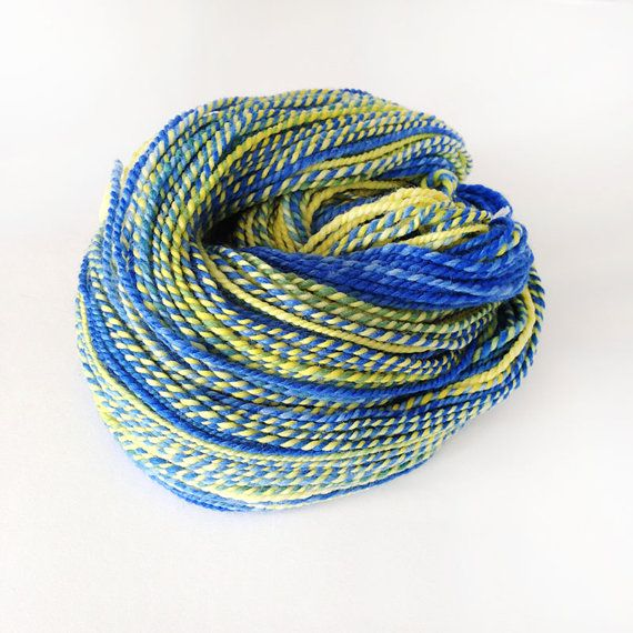 Blue and Yellow Superwash Merino and Nylon Handspun by Artyfibres
