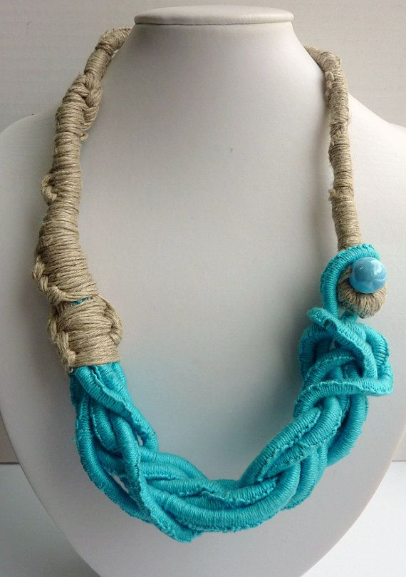 Jewelry Turquoise Macrame Silk Linen Necklace with Ceramic Bead