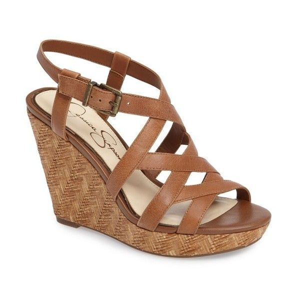 Women's Jessica Simpson Jazlin Wedge Sandal featuring polyvore, women's fashion, shoes, sandals, burnt umber leather, genuine leather shoes, leather footwear, leather wedge sandals, jessica simpson sandals and jessica simpson shoes
