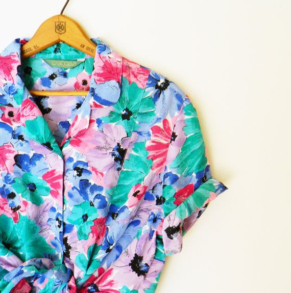 Spearmint Tropical Floral Blouse / Vintage Floral Button Up Shirt / Oversized Floral Blouse / Slouchy Floral Top