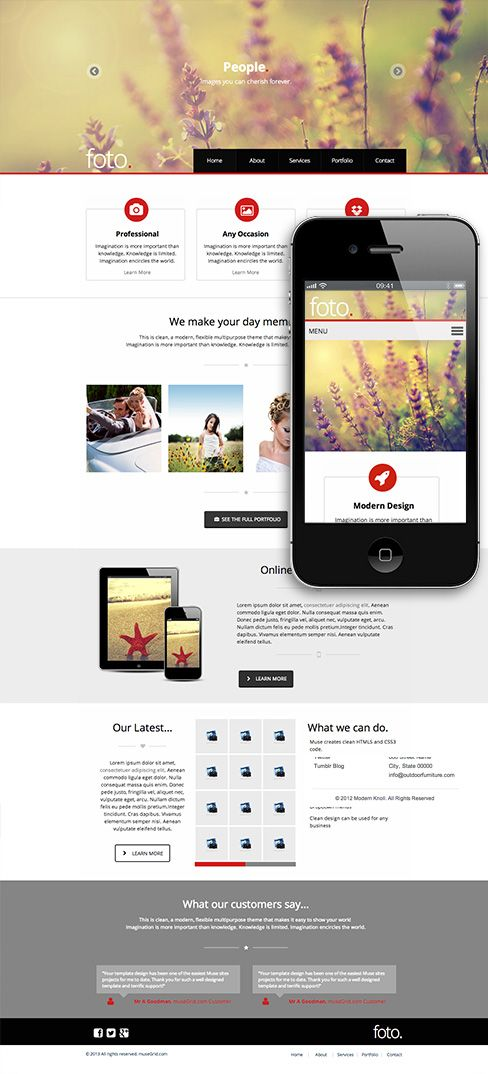 110 best adobe muse templates images on pinterest adobe muse foto a premium adobe muse template for photographers pronofoot35fo Images